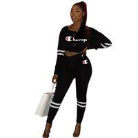 sexy schwarze hosenanzüge für frauen großhandel-Schwarz Big C Brief drucken Ladys bauchfrei 2ST Sexy Frauen-beiläufige 2 Stück Hosenanzug