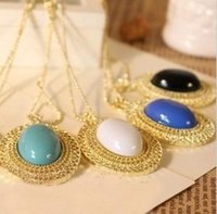 Wholesale animal cutouts resale online - Pendant necklace accessories women jewelry oval cutout gem necklace lovers necklace Gold Plated Chain Vintage Necklaces