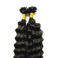 предварительные склеивания волос оптовых-Натуральный цвет Pre Bonded Nail U TIP Наращивание волос человека 200S Кератиновый фьюжн Кончик ногтя Наращивание волос Remy Virgin Indian Deep Wave Hair