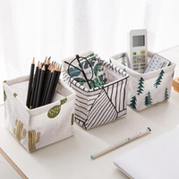 Wholesale stationery stores resale online - Cotton Linen Desktop Storage Boxes Office Table Stationery Storages Cases Home Furnishing Cosmetics Store Up Organizers ws L1