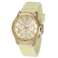 genf armbanduhren neue ankunft großhandel-Neue Ankunfts-Art- und Weisesilikon-Genf-Uhr-Frauen-Dame-populäre goldene Vorwahlknopf-analoge Quarz-Sport-Armbanduhr 100pcs / lot