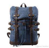 leder-rucksack groihandel-Männer Retro-Leder-Segeltuch-Rucksack im Freien kampierende wandernden Reisen Knapsack Schultertragetasche Schulranzen Schultasche Rucksack