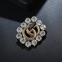 Wholesale good brooches resale online - Crystal Letter G Brooch For Women Fashion Statement Good Color Brooches Pin Clothes Accessories Jewelry Gift Dropshipping