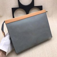 Wholesale soft light leather business bags resale online - 2019 Top quality Coated canvas clutch bag designer for Men And Women real leather Business card holders long wallet with box W27 h21