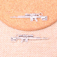 Wholesale sniper pendants online - 41pcs Antique Silver Plated sniper rifle gun Charms Pendants fit Making Bracelet Necklace Jewelry Findings Jewelry Diy Craft mm