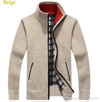 sweater sweater venda por atacado-Turtleneck Full Zip das Camisolas homens do Natal Cardigan Mens Marca Brasão Cashmere Men Marca malha Roupa de inverno de espessura