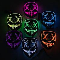 смешные маски лица оптовых-Неоновые светодиодные маски Хэллоуина светятся в темноте Маска загорается страшный череп Маска для лица Забавные маски Маскарадные маски для вечеринок Косплей Подарок на поставку DBC VT0382