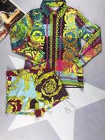 jersey de talla grande al por mayor-Mujer Chándal Blusa de manga larga Tops + shorts Conjunto de 2 piezas Estampado de flores informal tallas grandes Trajes Ropa deportiva mujer Ropa