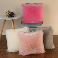 Wholesale grey modern bedding online - High Quality Nordic Modern Plush Cushion Covers Faux Wool Fur Cushion Cover White Grey Pink Purple Color Decorative Sofa Bed Pillow Case