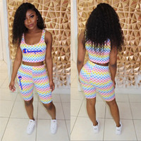 Wholesale women s pink tank top for sale - Group buy Gradient Women Champions Shorts Mosaic Tracksuit Grid Vest Tank Crop Top Shorts Piece Set Brand Outfits Sleeveless Sportswear S XL C53004