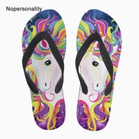 Wholesale cartoon flip man for sale - Group buy Nopersonality Colorful Cartoon Unicorn Print Slippers Summer Beach Flips Flops Personalized Female Women Flat Home Flipflops