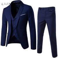 mens business casual suit ceket toptan satış-Laamei Erkek 3 adet (ceket + Yelek + Pantolon) Erkek İş Elbise Slim Fit İnce Bahar Suit Katı Gündelik Ofis Takım Elbise Asya Xl = bize Xxs Q190330