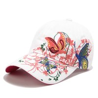 Wholesale butterfly hats for sale - Group buy 2019 hot style baseball and butterfly embroidered duck tongue lip print hat