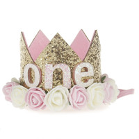 Wholesale number hair for sale - Group buy Birthday Girl Party Flower Hats Pink Princess Crown st nd Year Old Number Baby Kids Hair Accessory Birthday Party Decors