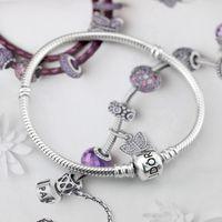 Wholesale mens silver box bracelet for sale - Group buy Women Mens K Rose Gold Clips Bracelet Original box for Pandora Silver Snake Chain Bracelets Set European Charm Beads Bracelet DIY