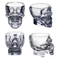 ingrosso tazze di birra del cranio pirata-Crystal Skull Head Vodka Wine Shot Bicchiere da bere 80ML Skeleton Pirate Vaccum Beer Glass Mug T0461