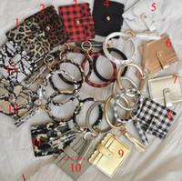 Wholesale wallet mixed resale online - Fashion Monogrammed Mixed Colors Leopard Snakeskin Plaid Clutch Keychain Big O Wristlet Bracelet Tassel Credit Cards Wallet Keyring