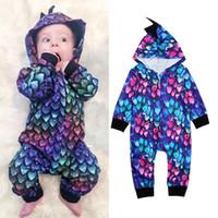 Wholesale newborn baby boys clothing online - Baby boys dinosaur Hooded romper Newborn infant cartoon INS Jumpsuits Spring autumn Boutique kids Climbing clothes C6330