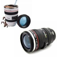 кружка кофе slr объектив камеры оптовых-6 поколения зеркальные камеры объектив кружка чашки воды с крышкой 400 мл портативный нержавеющей стали стакан путешествия термос молоко кружки кофе Рождественский подарок