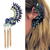 Wholesale clip tassel earrings for sale - Group buy Gemstone Golden Color Large Ear Clip Long Metal Tassels Ear Studs Rhinestone Cuff Earrings For Women Fashion Jewelry sj H1