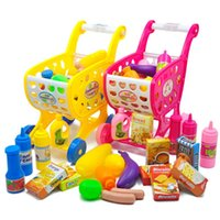Wholesale toy shopping trolleys for sale - Group buy 37pcs Mini Supermarket Shopping Cart Toys Simulation Basket Plastic Vegetable Toy for Kids Trolley Girls Pretend Play Game