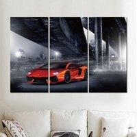 turuncu modern resim toptan satış-3 takım tuval baskı modern resimler lamborghini turuncu duvar sanat boyama güzel sanatlar ev dekorasyon için
