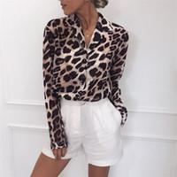 senhoras túnica longa tops venda por atacado-2019 Estampa de Leopardo Blusa de Chiffon Tops Para As Mulheres de Manga Longa Animal Print Shirt Elegante Escritório Senhoras Túnica Blusas Plus Size S19709