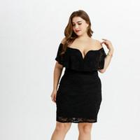 a7cb76e1c7 Vestido de mujer de gran tamaño en Europa y América en otoño e invierno  Nuevo tejido de punto de impresión Mm Mm Encaje negro Vestido delgado con  huecos