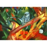pinturas a óleo macacos venda por atacado-Pinturas a óleo da arte da lona por Franz Marc Macaco pequeno para a decoração da parede pintada à mão