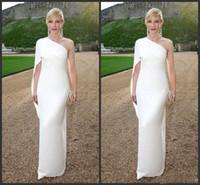 bir omuz kırmızı kılıf elbisesi toptan satış-Zarif 2019 Yeni Beyaz Fildişi Şifon Kılıf Elbiseler Akşam Aşınma Basit Ucuz Bir Omuz Kırmızı Halı Elbise Custom Made Parti törenlerinde