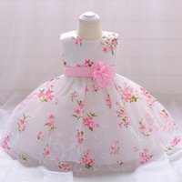 Wholesale 1st birthday clothes resale online - New Born Girls Dress Summer Lace Tulle Flower Party st Birthday Dresses For Baby Girls Clothes Vestidos Infant Tutu Gowns Y190516