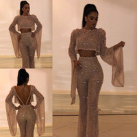 Wholesale long party dresses for sale - Hot Sell Sequined Two Pieces Prom Dresses Sheath Long Sleeves Plus Size Formal Dresses Party Evening Gowns Custom Made Pants Suits BC0240
