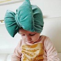 sombreros chicos niños de moda al por mayor-Primavera lindo sombrero del bebé del turbante grandes lazos de la niña de sombreros de la gorrita tejida color sólido del niño Caps suave infantil del capo