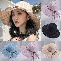 geniş ağızlı siyah şapka kadınlar toptan satış-2019 Bayanlar Kadınlar Casual Geniş Kenarlı Disket Katlanabilir Katı Yaz Siyah Plaj Şapka yaz plaj şapka ile uv koruma