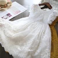 bebekler rahat kıyafetler için elbiseler toptan satış-Kızlar Elbise 2019 Yeni Yaz Marka Çocuk Giysileri Dantel Ve Çiçek Tasarım Bebek Kız Elbise Çocuklar Kızlar Için Elbiseler Gündelik Giyim
