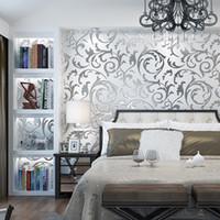 fondos de pantalla europeos al por mayor-Nueva pared del hogar moderno papel de la pared 3d televisor estéreo fondo de plata de oro minimalista dormitorio sala de estar flor europea gancho de fondo de pantalla de hoja mural