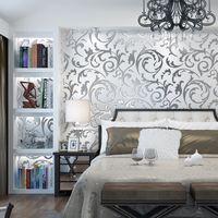 fundo prateado venda por atacado-parede nova casa moderna minimalista papel de parede TV 3D estéreo prata fundo de ouro sala de estar quarto flor Europeia gancho folha mural de parede