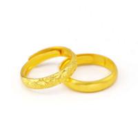 anel de ouro 999 venda por atacado-Loja de ouro 1: 1 homens e mulheres com o mesmo parágrafo de impressão 999 classic anel de areia anel estrelado