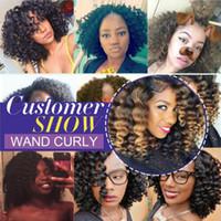 afro kinky curl saç uzantıları toptan satış-Büyük indirim! 1 Packs Kısa Değnek Curl Omber Ürkek Tığ Saç Siyah Kadınlar için Afro Kinky Küçük Bukleler Afrika Saç Uzantıları (1B / 27 #, 8 inç)