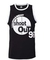 erkekler için siyah kıyafetler toptan satış-Erkekler 96 Turnuva Shootout Forması Basketbol Forması S-XXXL Siyah, 90 S Hip Hop Giyim, Dikişli Harfler ve Sayılar