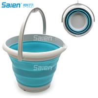 balde de água de plástico venda por atacado-Cubeta plástica dobrável de 10L (2,6 galões) - cubeta redonda dobrável - balde de água portátil da pesca - Waterpot ao ar livre de poupança de espaço