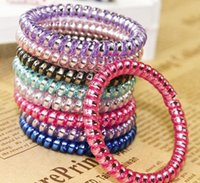 Wholesale high quality elastic ties resale online - High Quality Telephone Wire Cord Gum Hair Tie Girls Elastic Hair Band Ring Rope Candy Color Bracelet Stretchy Scrunchy Mixed color
