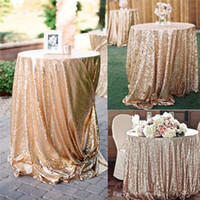 mesa de mantel de lentejuelas al por mayor-Boda de oro rosa con lentejuelas Mantel hermosas / Muchos de tamaño fuentes de la boda Champagne lentejuelas Mantel / Superposición / Cubierta