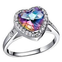 Wholesale rainbow cubic zirconia ring resale online - 2018 Hot sale Jewelry Cut heart shaped Mystic Rainbow topaz Cubic Zirconia Platinum Plated Rings Size R0175