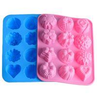 doce de geléia de flores venda por atacado-12 Grade Silicone 3D Chocolate Soap Mold Bolo Doces Jelly Flower Mold Pan Bandeja Moldes