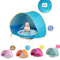 açık havada çadır çocukları toptan satış-Bebek plaj çadır bir havuz ile uv koruyucu güneşlik su geçirmez pop up tente çadır çocuk açık kamp güneşlik plaj dropship C31