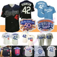 Wholesale jackie robinson jersey xl for sale - Group buy Jackie Robinson Jersey st WS Coopers town Brooklyn Baseball Hall Of Fame Patch Cream White blue All Stitched
