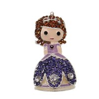 conto de fadas vestido princesa venda por atacado-Colares longos de jóias de jóias contos de Fadas dos desenhos animados filme princesa vestido pingente em Pingente Colares de Jóias