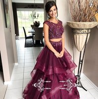 Wholesale short prom dresses for sale - Two Piece Burgundy Prom Dresses Scoop Neck Cap Sleeves Beading Tulle Sweet Party Dress Evening Wear Special Occasion Gowns