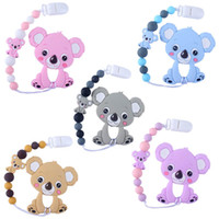 Wholesale feeding baby products for sale - Group buy Cute Cartoon baby pacifier clips silica gel newborn pacifier chain clips baby toys Pacifier chain Baby products Feeding Clips A8708